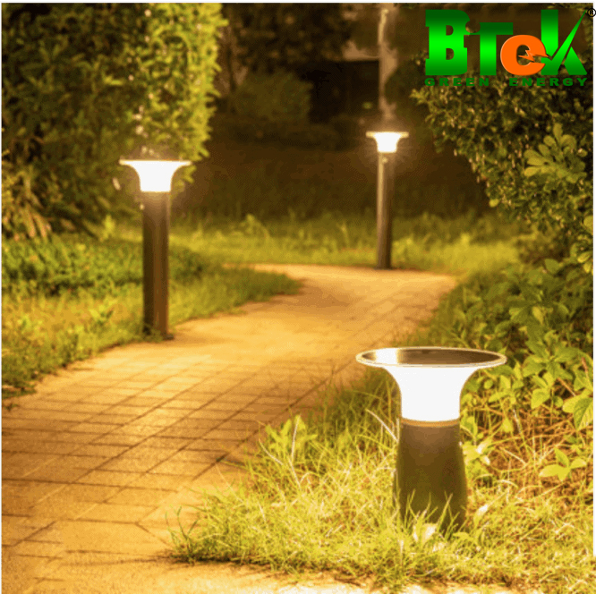 ứng dụng đèn năng lượng mặt trời vào lối đi sân vườn