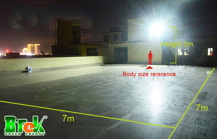 diện tích phủ Đèn pha năng lượng mặt trời 100W JD-8800L