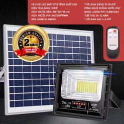 thông số Mặt sau Mã Kích thước Đén pha năng lượng mặt trời 40W JD-8840L